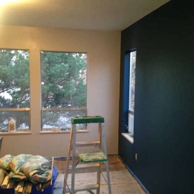 Painting in progress blue wall